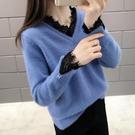 新品上市# 水貂絨V領毛衣女新款韓版蕾絲打底衫雞心領很仙的洋氣上衣潮
