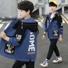 男童外套韓版外套 秋季中大童百搭夾克外套 時尚休閒男童外套 簡約印花男童外套 風衣潮流外套