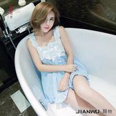睡衣女夏季韓版吊帶性感梭織純棉蕾