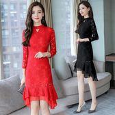 紅色洋裝 女裝旗袍現代中長款顯瘦秋端莊改良版中國風時尚優雅秋季-炫科技