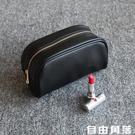便攜化妝包韓國簡約黑色PU旅行防水大容量化妝品護膚品收納包 自由角落