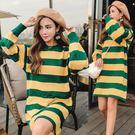 VK精品服飾 韓國風圓領拼色條紋針織毛衣長袖洋裝