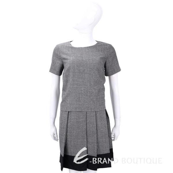Max Mara-WEEKEND 灰色拼接百褶裙短袖洋裝 1540529-06