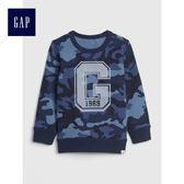 Gap男嬰幼童 妙趣印花圓領長袖休閒上衣 489479-藍色迷彩