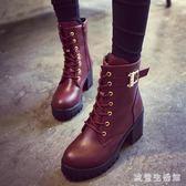 馬丁靴  中大尺碼2018新款韓版秋冬拉鏈高跟女短靴粗跟英倫百搭女靴 KB8789【歐爸生活館】