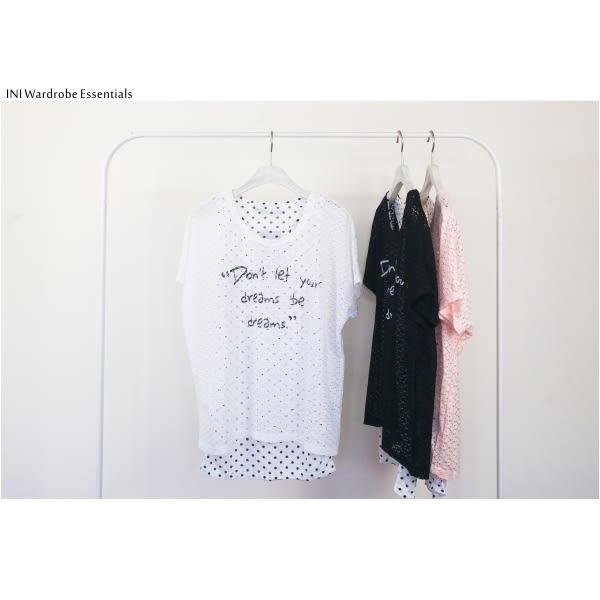【INI】亮點蕾絲、假兩件式蕾絲點點設計上衣.白色