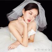 新款新娘頭紗韓式簡約網格短款蓬蓬頭紗旅拍婚紗頭飾超仙抖音網紅 晴天時尚館