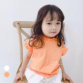 純色立體小花邊短袖上衣 短袖上衣 童裝 上衣