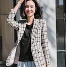 青春學院配色格紋中長版西裝外套[20S1...