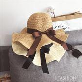 韓國春夏天手工草編大檐飄帶遮陽帽荷葉邊大檐沙灘帽女款度假草帽·Ifashion
