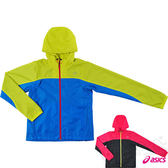 ASICS亞瑟士 女慢跑風衣外套 防風夾克(藍*綠) 網布內裡 2014新款