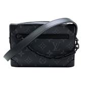 【台中米蘭站】全新品 Louis Vuitton SOFT TRUNK Eclipse帆布印花拉鍊斜背包(M44735-黑灰)