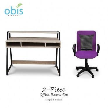 【obis】個性工業風辦公2件組(二抽書桌+辦公椅紫)
