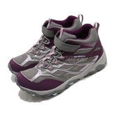 Merrell 戶外鞋 Moab FST Mid A/C Waterproof 紫 灰 女鞋 中童鞋 健走 登山鞋 【ACS】 MK164172