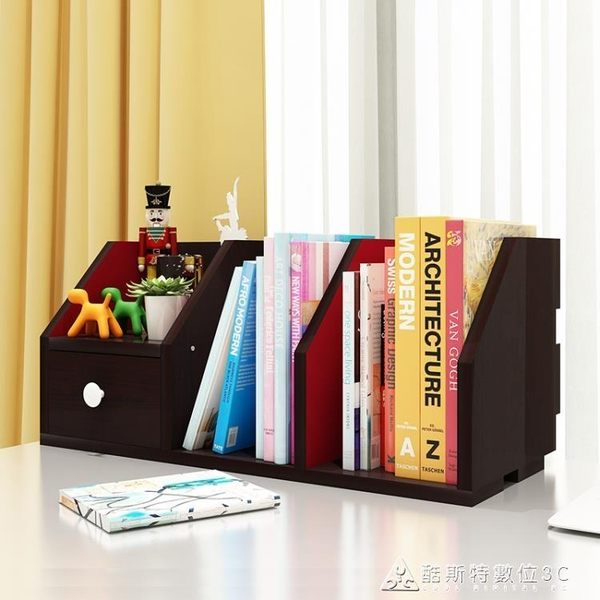 創意書架 簡易桌面置物架桌上架子簡約現代電腦桌收納帶抽屜書架 酷斯特數位3c igo