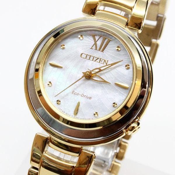 【萬年鐘錶】Citizen Eco Drive 限量款式 光動能 晶鑽時刻標示 藍寶石玻璃鏡面 女錶 EM0336-59D
