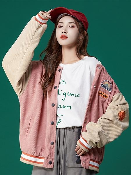 棒球服 棒球服女春秋ins潮2021年新款寬鬆韓版原宿學生粉色短款夾克外套 童趣屋  新品