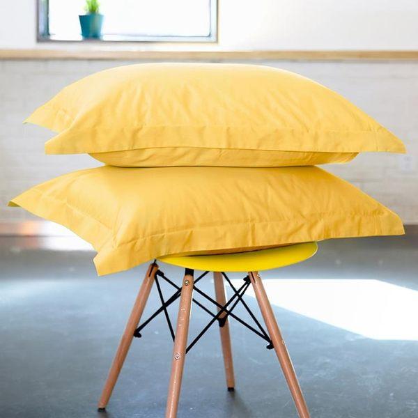 雙12盛宴 亮黃單色系列枕套純色純棉枕套雙人枕頭套純色一對裝枕芯套