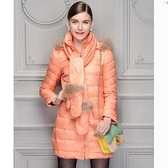 羽絨外套 中長款-連身帽加厚貉子毛領修身顯瘦女外套4色72i10【巴黎精品】