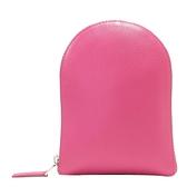 Delvaux 德爾沃 桃紅牛皮拼接棕色印花pvc購物收納包 Shopping Bag 【BRAND OFF】