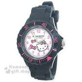 〔小禮堂〕Hello Kitty 矽膠運動手錶《黑白.大臉.蝴蝶結》腕錶.運動錶 8014071-04001