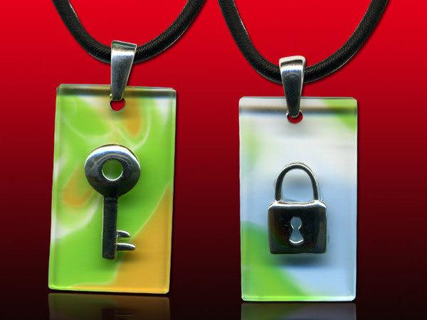 鹿港窯~開運古法水晶琉璃銀飾項鍊~鎖住心扉(一對) 附精美包裝◆免運費送到家