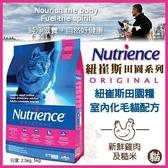 *WANG*美國Nutrience紐崔斯《田園糧-室內化毛貓(雞肉+糙米)》5公斤//補貨中