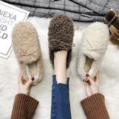毛毛鞋網紅毛毛鞋女冬外穿2019新款學生平底豆豆鞋韓版百搭加絨厚底棉鞋 歐美韓