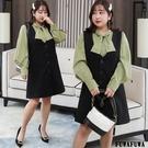 (現貨+預購 FUWAFUWA)--加大尺碼OL兩件式套裝背心裙洋裝