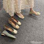 復古奶奶鞋粗跟單鞋女低跟豆豆鞋2020春款OL方頭圓頭韓版淺口瓢鞋 黛尼時尚精品