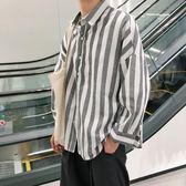 男士襯衫條紋七分袖韓版襯衣服男裝