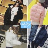 ~V0330 ~shiny 藍格子溫暖冬意.街頭潮流超輕保暖加厚短款長袖外套