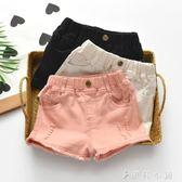現貨出清兒童短褲 女童黑色白色牛仔短褲純棉破洞親子韓版中大童熱超彈褲子10-23