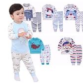 男寶寶長袖套裝 卡通動物家居服 長袖上衣+收口長褲 棉質睡衣 HY10605 好娃娃