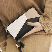 新款女士手拿錢包女長款韓版潮個性撞色拼接拉錬女學生手機包  范思蓮恩