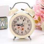 鬧鐘創意學生床頭靜音時尚簡約鬧錶台鐘金屬小鬧鈴超大聲音帶夜燈 俏腳丫