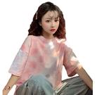 EASON SHOP(GW5878)實拍馬賽克渲染格紋長版OVERSIZE短袖T恤裙連身裙女上衣服落肩寬鬆內搭衫棉T恤