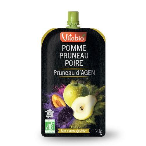 【期效至18.10.31】Vitabio 有機優鮮果PLUS蘋果黑棗洋梨120G-法國原裝進口12個月以上嬰幼兒專屬副食品