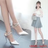 細跟涼鞋 夏季新款尖頭高跟鞋細跟包頭中跟女鞋銀色單鞋一字扣帶涼鞋春 交換禮物
