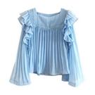 超仙荷葉邊娃娃衫仙氣雪紡衫短款上衣女小眾洋氣防曬衣 果果輕時尚