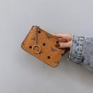 復古印花超薄拉鏈迷你小卡包軟錢夾硬幣包