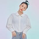 襯衫 刺繡質感素面長袖白襯衫GQ11326-創翊韓都