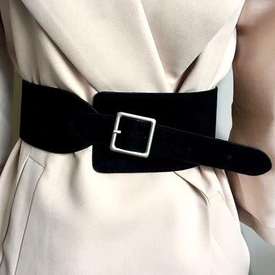 寬版皮帶絨布腰封綁帶大衣束腰復古韓國配西裝布腰帶女款裝飾洋裝寬版皮帶