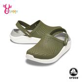 Crocs卡駱馳 男鞋洞洞鞋 LiteRide 園丁鞋 軟底 防水布希鞋 A1752#綠色◆OSOME奧森鞋業