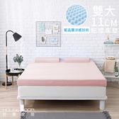 House Door 抗菌防螨11cm藍晶靈涼感舒壓記憶床墊-雙大甜美粉
