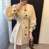 梨卡 - 秋冬設計感韓版V領純色寬鬆縮腰長袖連身裙洋裝連身短裙BR126