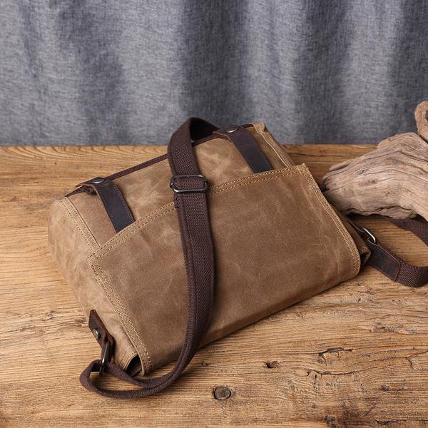 【Solomon 原創設計皮件】防水機能帆布側背包 皮革帆布斜背包  中性休閒小書包