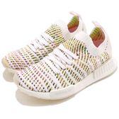 adidas NMD_R1 STLT PK W 白 彩色 彩虹 編織 Primeknit 鞋面 boost 襪套式 運動鞋 女鞋【PUMP306】 B43838