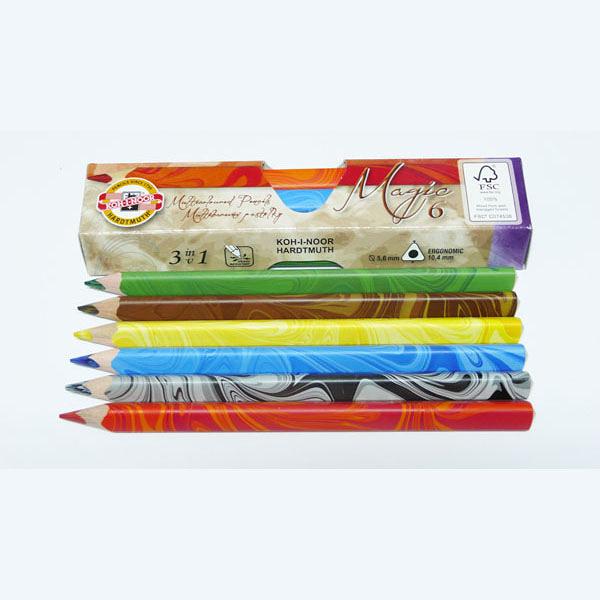 KOH-I-NOR 三角形魔術色鉛筆6色硬紙盒組裝*3408