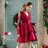 洋裝 深V透膚刺繡層次太空棉長袖洋裝-Ruby s 露比午茶